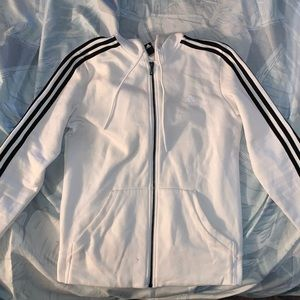 Adidas White and Black Fleece Jacket